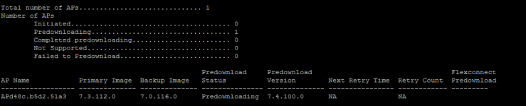 Figure 2: show ap image all - after executing pre-download command